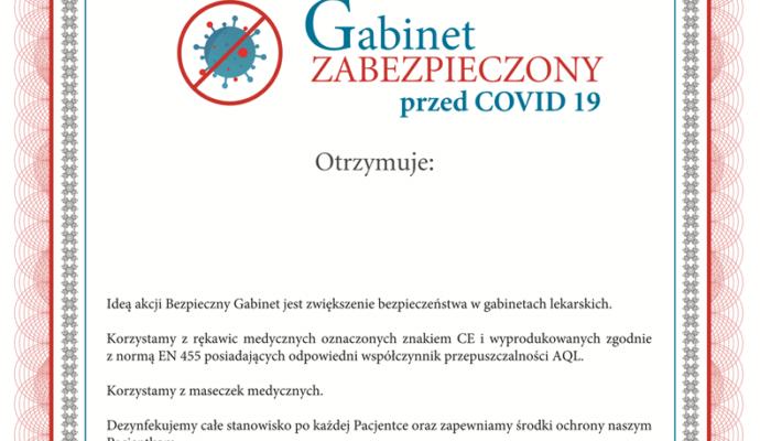 certyfikat gabinet zabezpieczony przed COVID 19
