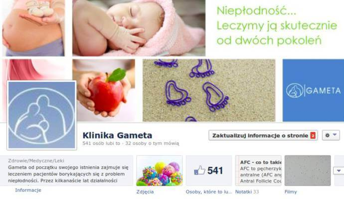 Klinika Gameta na Facebooku