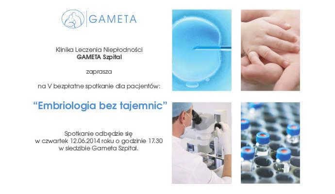 """V bezpłatne spotkanie dla pacjentów: """"Embriologia bez tajemnic""""."""